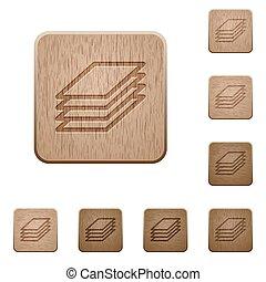 impresión, papeles, de madera, botones,