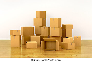 piles of cardboard boxes 3d illustration