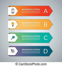 Infographic template with 4 steps, parts, options, stages -...