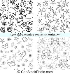 Sea life seamless patterns collection