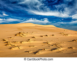 Desert sand dunes on sunrise - White sand dunes in desert on...