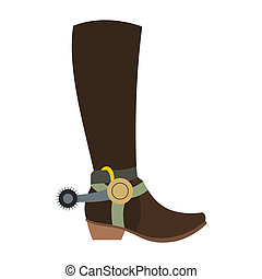 Cowboy boot icon in flat style isolated on white background