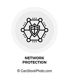 Network Protection Line Icon - Network Protection icon...