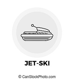 Jet-Ski Line Icon - Jet-Ski icon vector Flat icon isolated...