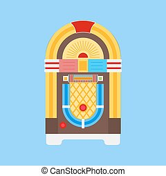 Jukebox Flat Icon - Jukebox icon vector Flat icon isolated...