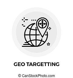 Geo Targetting Line Icon - Geo Targetting icon vector Flat...