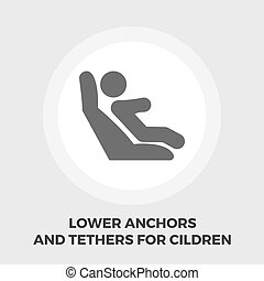Lower anchors and tethers for children flat icon