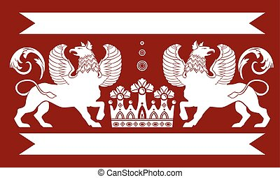 Heraldic Double Griffin - Red heraldic frame with Double...