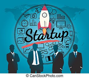 Silhouette people for business  startup