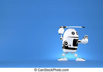 Robot with katana on blue background. Contains clipping path