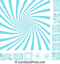 Cyan white spiral background set - Cyan and white vector...