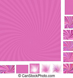 Magenta spiral background set - Magenta vector spiral design...