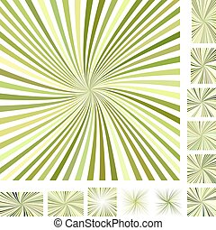 Green burst background set - Green vector burst design...