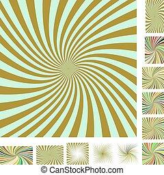 Retro spiral background set - Retro vector spiral design...