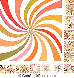 Summer color spiral design background set - Summer color...