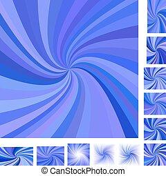 Blue spiral background set - Blue vector spiral design...