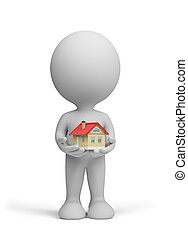 House in human hands - 3d man holding a small house in his...
