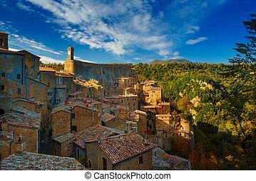 Sorano - tuff city in Tuscany