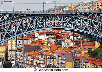City of Porto in Portugal. Arch of Ponte Luis I bridge and...