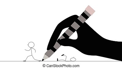 Stick figure running from hand with pencil