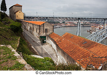 Vila Nova de Gaia Urban Scenery in Portugal - Road, old...