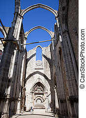 Igreja do Carmo Church Ruins in Lisbon - Lisbon, Portugal,...