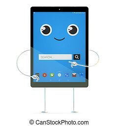 Tablet cartoon character. Search concept. 3d illustration with clipping path
