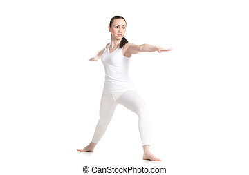 Yoga Virabhadrasana 2 Pose - Sporty attractive young woman...