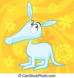 cute aardvark illustration with abstract floral background