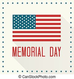 Memorial Day Vector Illustration. American Flag and Text...