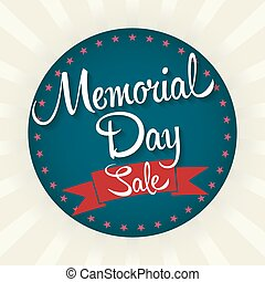 Memorial Day Sale Badge Vector Illustration. Text with...