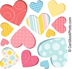 Hearts isolated - Collection of colored hearts on a white...