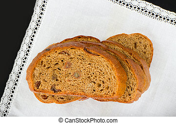 Freshly baked bread with homespun fabric - bread is main...