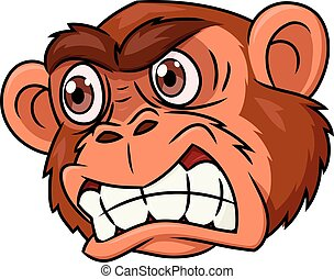 Angry monkey head - Illustration of the angry monkey head on...