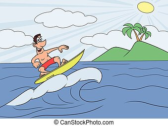Man on vocation is surfing - Illustration of the happy man...