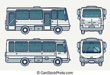 bus front, side, back view line style - Set stock vector...