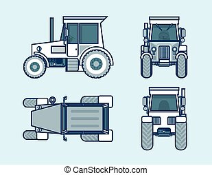 tractor top, front, side, back view line style - Set stock...