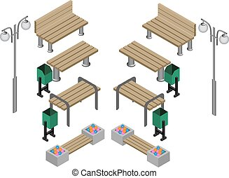 Bench. Outdoor park benches Icon Set.