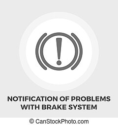 Notification of problems with the brake system icon flat