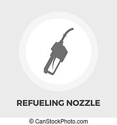 Refueling nozzle icon flat - Refueling nozzle icon vector...