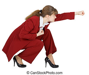 Businesswoman in combat position on white - Businesswoman...