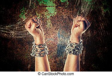 chaînes, deux, mains