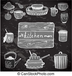 Vector stickers kitchen utensils