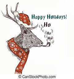 New year and Christmas humor background with smoke deer in...