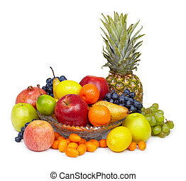 Still life - pineapple and other fruits on white