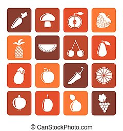 Flat Different kinds of fruits and Vegetable icons - vector...