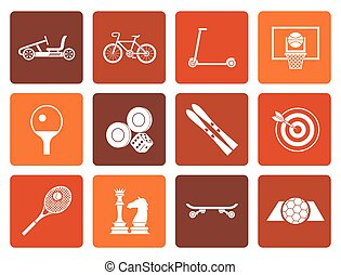 sports equipment and objects icons - Flat sports equipment...