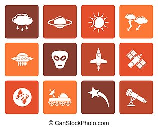 Astronautics and Space Icons - Flat Astronautics and Space...