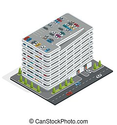 Multi-story car park Isometric city car park Urban car...
