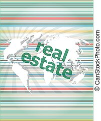 real estate text on touch screen vector quotation marks with thin line speech bubble. concept of citation, info, testimonials, notice, textbox